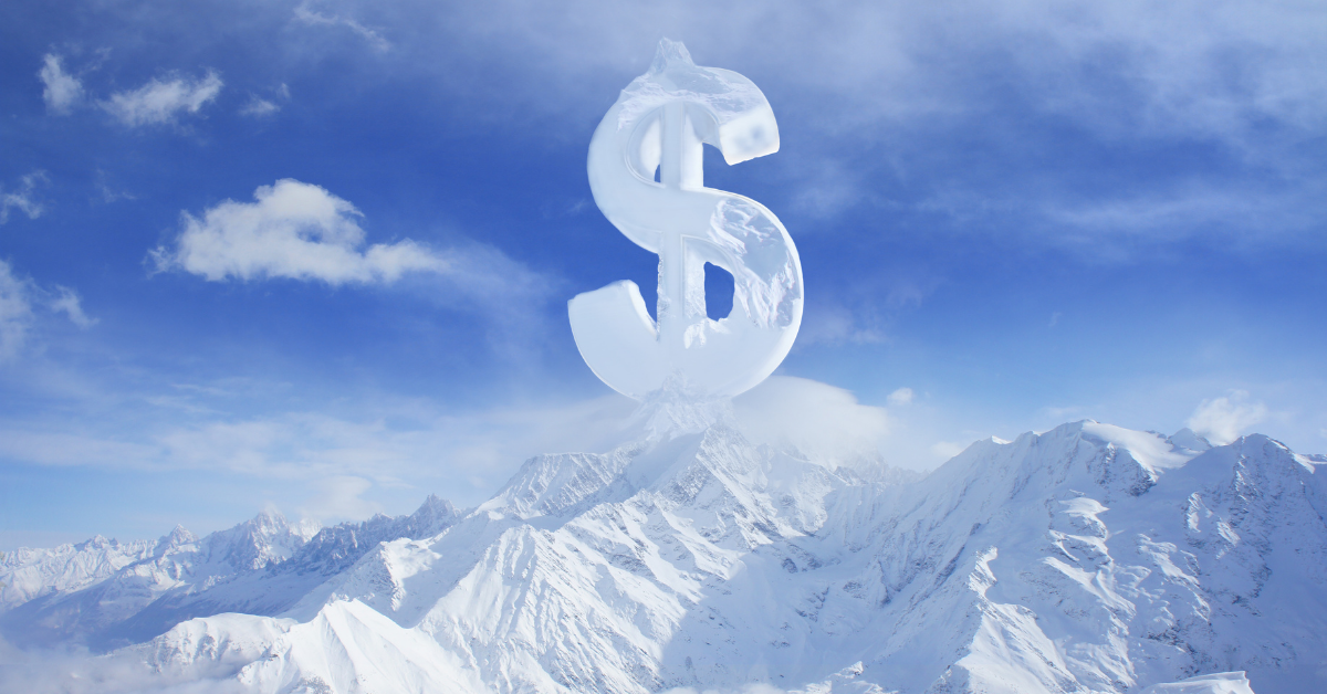 Medicare cliff. A dollar sign on top of a snowy mountain.