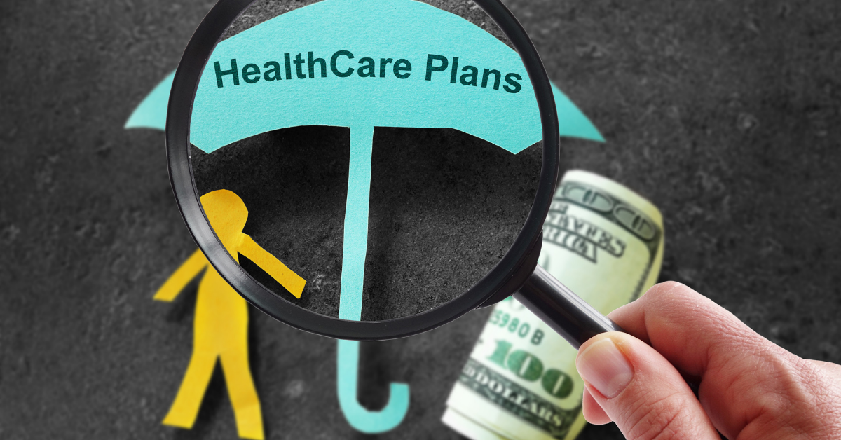 An umbrella with a person under it that says health care plans. Open enrollment deadlines.